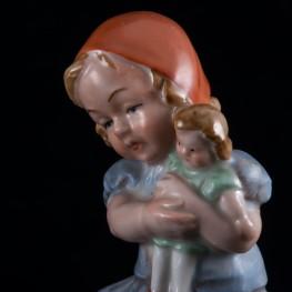 Девочка с куклой и кроликом, Wagner & Apel, Германия, до 1949 г