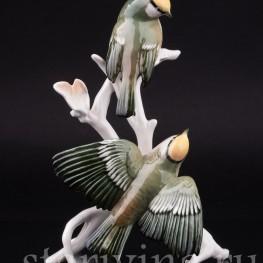 Фигурка птиц из фарфора Корольки на ветке, Karl Ens, Германия, 1950 гг.