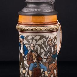 Антикварная пивная кружка Музыканты, 1/2 л, Villeroy & Boch, Mettlach, Германия, 1885 г.