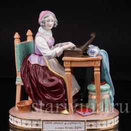 Антикварная фарфоровая статуэтка Дама за клавикордом, Porcelaine de Paris, Франция, 19 в.