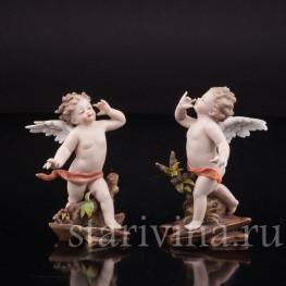 Статуэтка из фарфора Два ангелочка (аллегория слуха), миниатюра, Volkstedt, Германия, кон. 19 в.