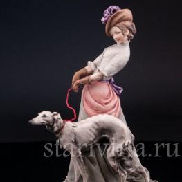 Статуэтка из фарфора Девушка с борзой, Bruno Merli, Италия, сер. 20 в.
